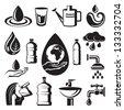 monochrome set of different symbols of water - stock photo