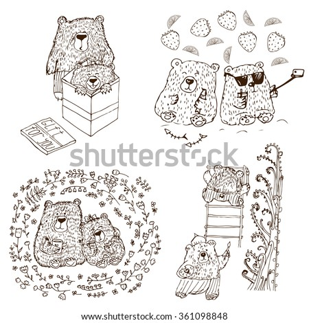 Monochrome set of four bear couples doing different things together. Positive set for coloring. Valentine day image. Children goods. - stock vector