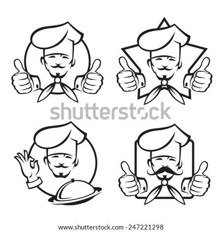 monochrome set of four chef icons - stock vector