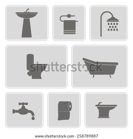 monochrome set with bathroom icons for your design