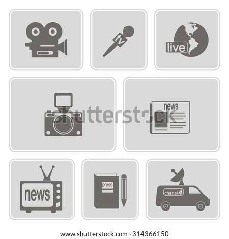 monochrome  set with journalism icons for your design - stock vector