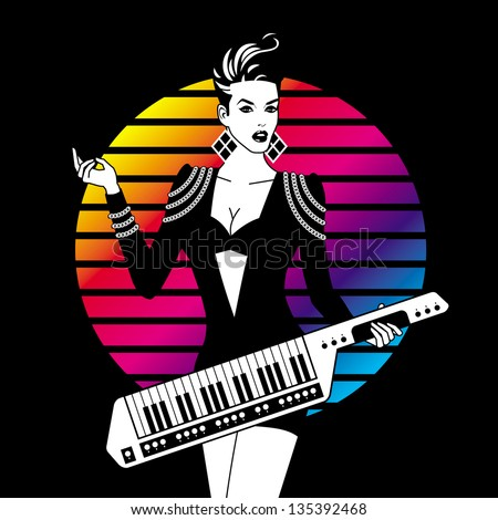 Monochrome Sexy Girl With Keytar On Color Background - stock vector