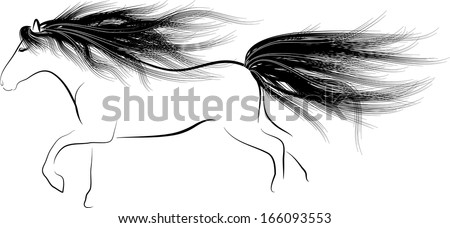 Monochrome silhouette Horse running with flowing mane