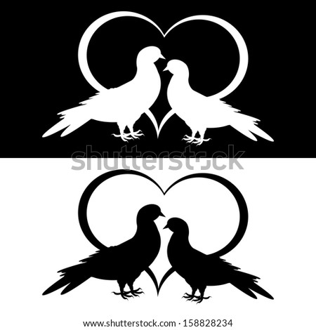Monochrome silhouette of two doves and a heart. Vector-art illustration - stock vector