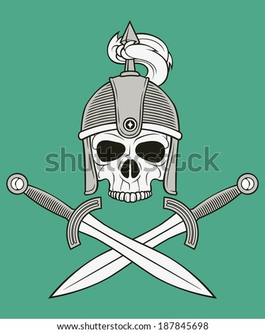 monochrome skull illustration, well organized, easy to rearrange and recolor - stock vector