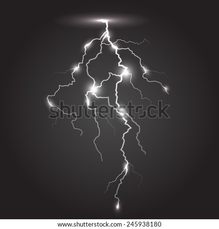 Monochrome stroke of lightning. Vector illustration, eps10. - stock vector