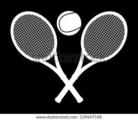 monochrome tennis design over black background vector illustration - stock vector
