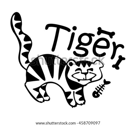 monochrome tiger print, funny, stylized, black and white
