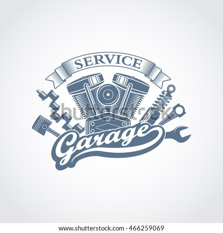 monochrome vector garage service logo retro stock vector