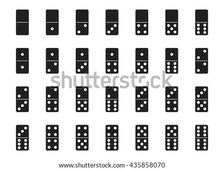 Monochrome vector illustration: isolated double-six (28 pieces) black dominoes set - stock vector