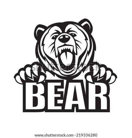 monochrome vector illustration of a bear - stock vector