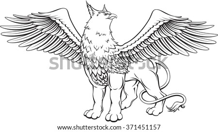 Monochrome vector illustration of a griffin with spread wings - a mythical creature with the head, claws and wings of an eagle and a lion's body.