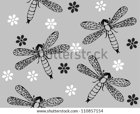 Monochrome vector pattern with dragonflies - stock vector
