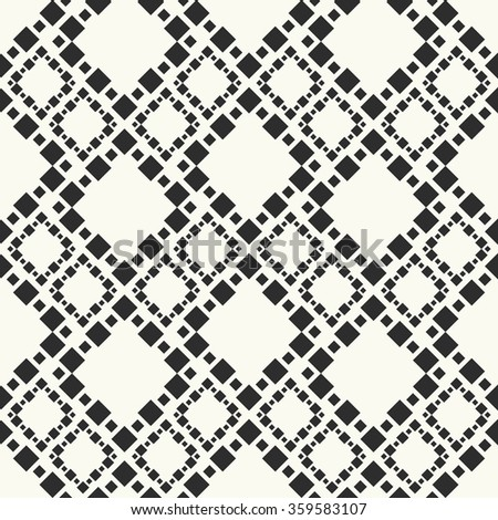 Monochrome vector seamless pattern. Stylish textile print with geometric design. Chains of blocks.