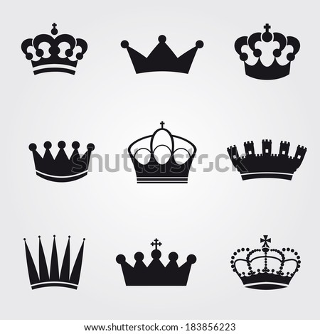 monochrome vintage antique crowns - icons and silhouettes