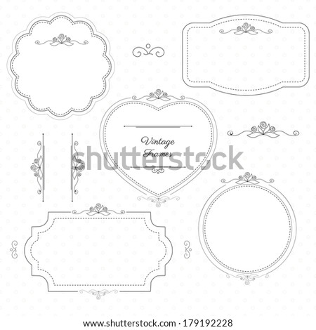 Monochrome vintage frames with floral elements on light pattern background