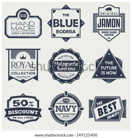Monochrome Vintage Labels - stock vector