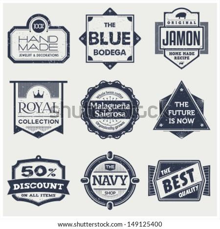 Monochrome Vintage Labels - stock vector