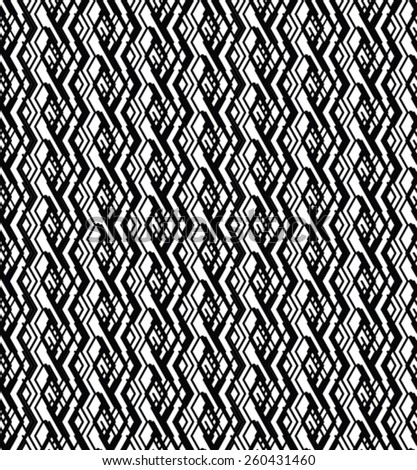 Monochrome visual abstract textured geometric seamless pattern. Symmetric black and white vector textile backdrop. - stock vector