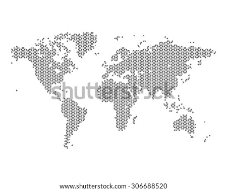 Monochrome world map consisting of triangles, vector illustration - stock vector