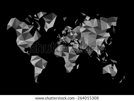 monochrome world map made in the style of polygon drawing black white - stock vector