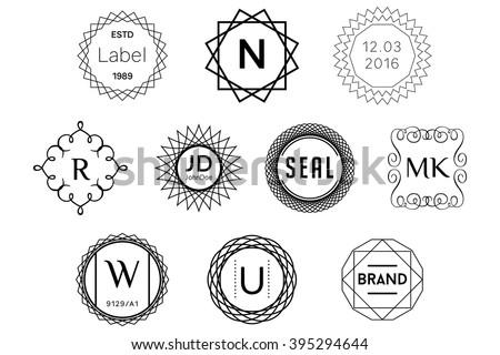Monogram Badges Black Vector Logos - stock vector