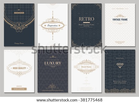 Monogram creative cards template with flourishes ornament elements. Elegant design for cafe, restaurant, heraldic, jewelry, fashion
