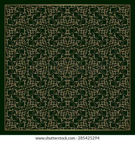 Monogram design elements, graceful template. Calligraphic elegant line art logo design.  Abstract decorative green background with vintage modern pattern. Grid gold braiding. Vector illustration - stock vector