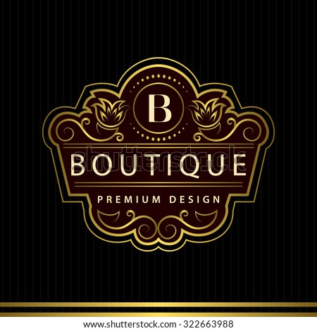 Monogram design elements, graceful template. Calligraphic Elegant line art logo design Letter emblem B identity for Restaurant, Royalty, Boutique, Cafe, Hotel, Heraldic, Jewelry, Fashion, Wine. Vector - stock vector