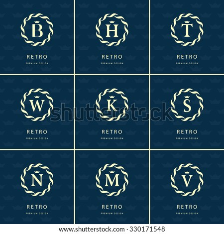 Monogram design elements, graceful template. Calligraphic elegant line art logo design. Letter emblem sign B, M, H, T, W, K, S, N, V for Royalty, business card, Boutique, Hotel, Heraldic. Vector - stock vector