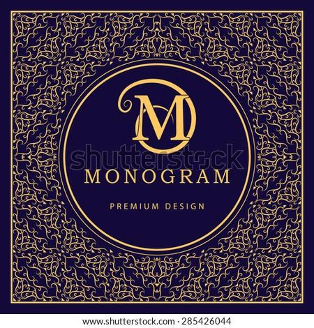 Monogram design elements, graceful template. Calligraphic elegant line art logo design. Letter M. Abstract decorative background with vintage modern pattern for labels, covers. Vector illustration - stock vector