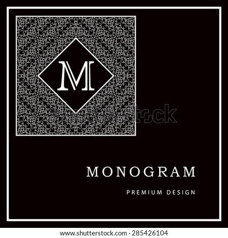 Monogram design elements, graceful template. Calligraphic elegant line art logo design. Letter M. Black and white Abstract decorative background with vintage modern pattern. Vector illustration - stock vector