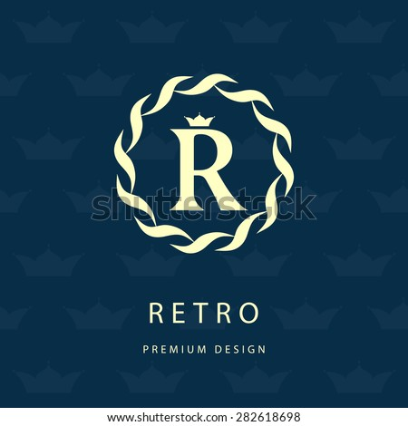 Monogram design elements, graceful template. Calligraphic elegant line art logo design. Letter R. Vintage Insignia or Logotype. Business sign, identity, label, badge, Cafe, Hotel. Vector illustration - stock vector
