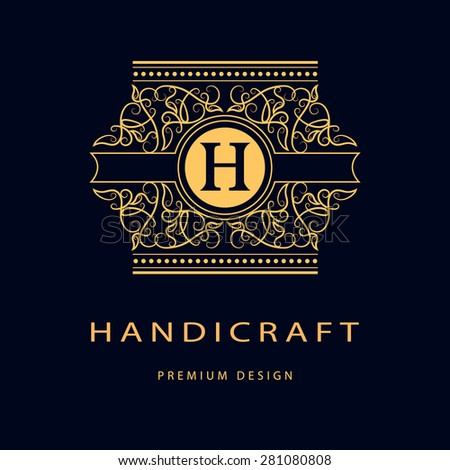 Monogram design elements, graceful template. Elegant line art logo design. Business sign, identity for Restaurant, Royalty, Boutique, Cafe, Hotel, Heraldic, Jewelry, Fashion, Wine. Vector illustration - stock vector