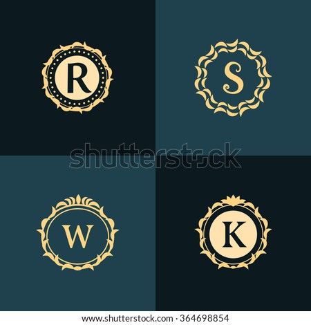 Monogram design elements, graceful template. Elegant line art logo design. Emblem Letter R, S, W, K. Retro Vintage Insignia or Logotype. Business sign, identity, label, badge, Cafe, Hotel. Vector - stock vector