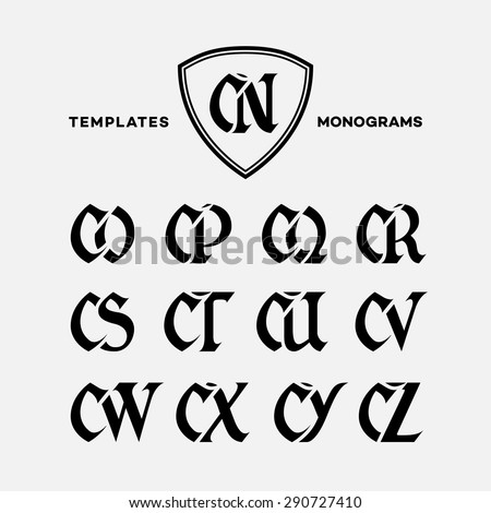 Monogram design template with combinations of capital letters CN CO CP CQ CR CS CT CU CV CW CX CY CZ. Vector illustration. - stock vector