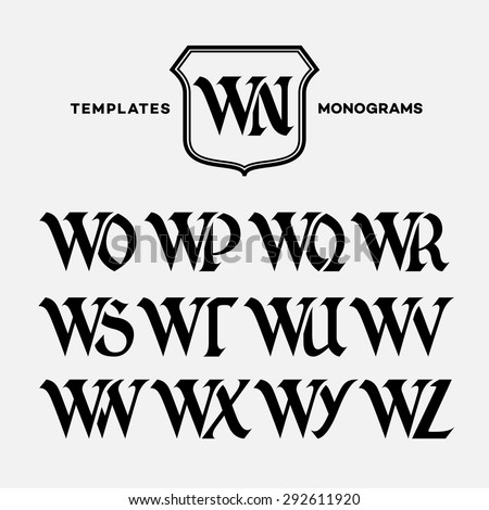 monogram design template with combinations of capital letters wn wo wp wq wr ws wt wu