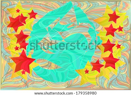 Monogram egg in stars blue,  Grass, meadow, seaweed, wall-paper,  paper for walls. eps10 - stock vector