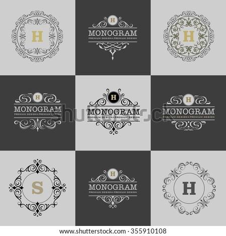 monogram emblem, logo design vector illustration, calligraphic element, heraldic set - stock vector