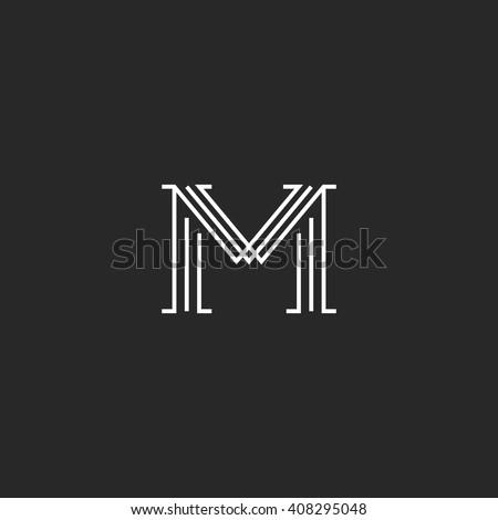 Monogram Letter M Logo Mockup Thin Stock Vector