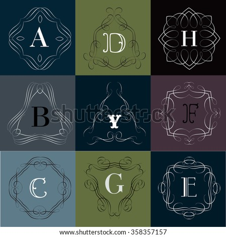 Monogram logo template with  calligraphic elegant ornament. Identity design with D,B,Y,F,C,G,E letter for shop, store or restaurant, heraldic, barbershop or barber, beauty salon, justic lawyer