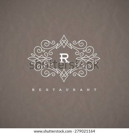 Monogram logo template with flourishes calligraphic elegant ornament elements. Identity design with letter for restaurant or cafe, shop, store, boutique, hotel, heraldic, fashion and etc. - stock vector