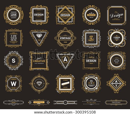 Monogram  luxury logo template with flourishes calligraphic elegant ornament elements.  - stock vector