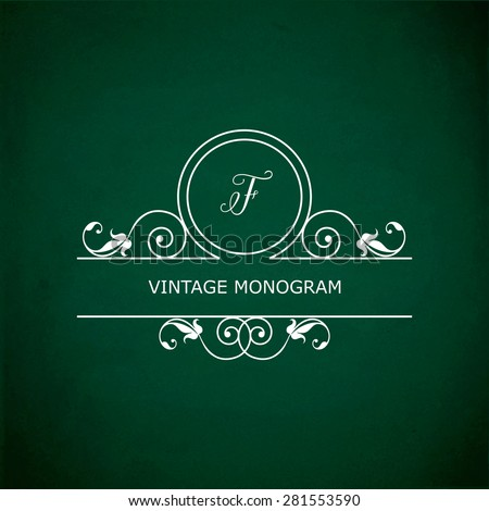 Monogram of the letter F, in retro floral style on green chalkboard background. EPS10 vector format - stock vector