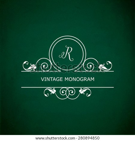 Monogram of the letter R, in retro floral style on green chalkboard background. EPS10 vector format - stock vector