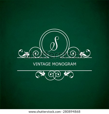 Monogram of the letter S, in retro floral style on green chalkboard background. EPS10 vector format - stock vector