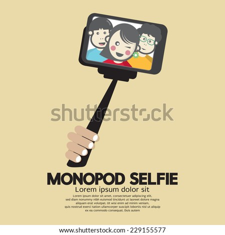 Monopod Selfie Self Portrait Tool For Smartphone Vector Illustration