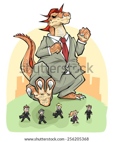 Monopoly corporation monster wants to trample group of small business people. - stock vector