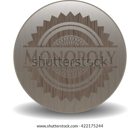 Monopoly realistic wooden emblem - stock vector