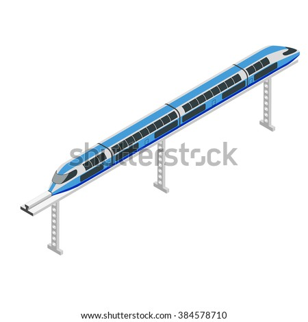 Monorail 3d isometric illustration. High-speed train. High tech world. Monorail train. - stock vector